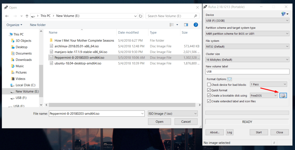 create liveusb of peppermint os using rufus in windows