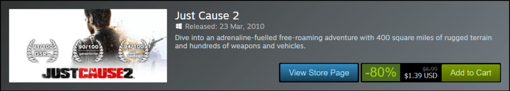 Just Cause 2 Sale