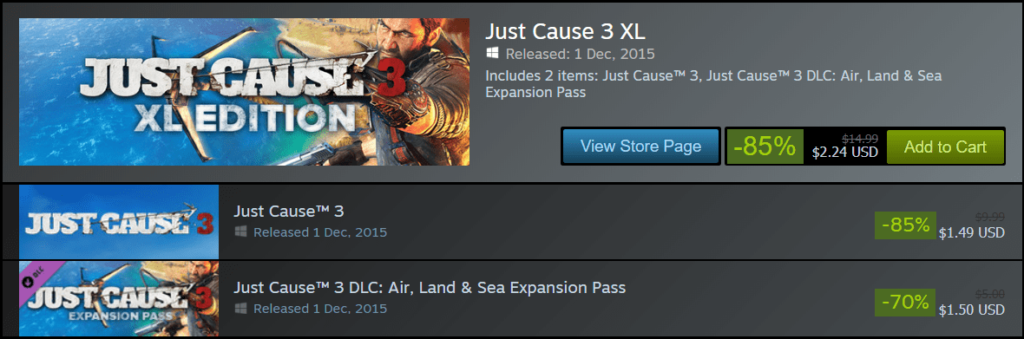 just cause 3 sale