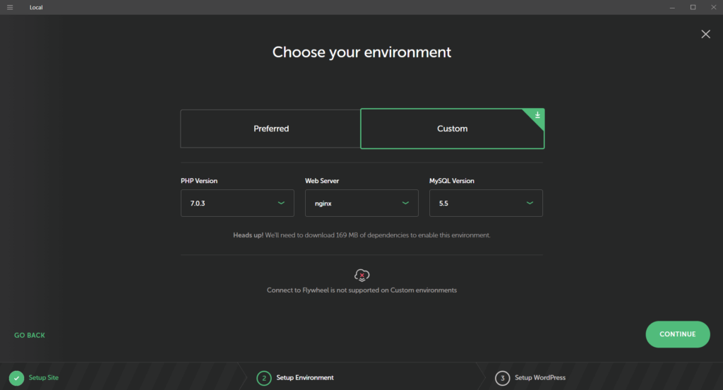 Choose Custom Environment in Local by Flywheel